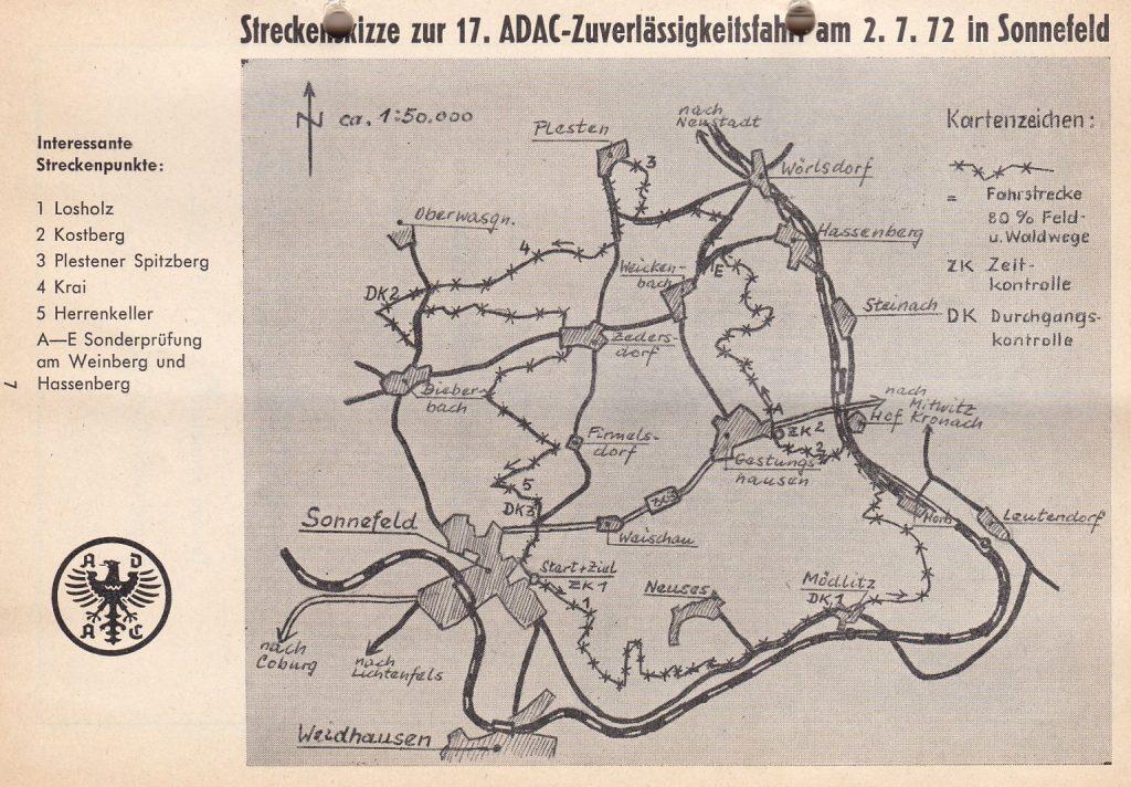 Sonnefeld 1972 Strecke